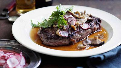 <strong>Wagyu steaks with soy-braised mushrooms</strong>