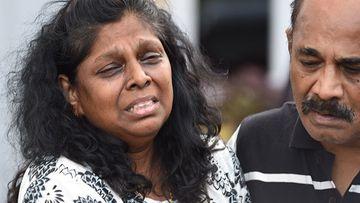 Raji Sukumaran after saying her last goodbye to her son Myuran at Nusakambangan Island Prison on April 28. (AAP)