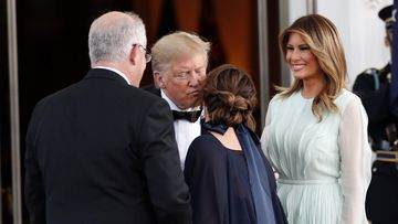 President Donald Trump and first lady Melania greet Australian Prime Minister Scott Morrison and his wife Jenny.