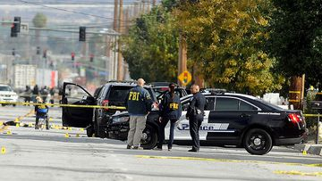FBI, San Bernardino City and San Bernardino County Sheriff's officials continue documenting and investigating. (AAP)
