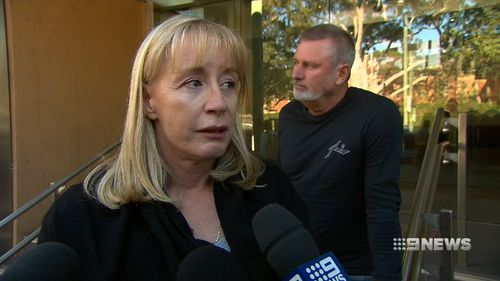 Tania Teelow was tearful outside Glebe Coroner's Court today. Picture: 9NEWS