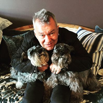 Jimmy Barnes with dogs Oliver and SnoopDog