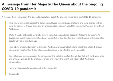 Queen Elizabeth's statement to Australia during the coronavirus crisis.