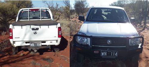 Dane Kowalski's ute was found off the Stuart Highway. (Supplied)