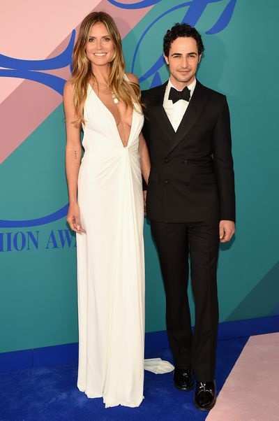 Heidi Klum in Zac Posen with designer Zac Posen at the 2017 CFDA Awards.