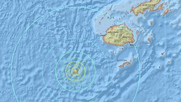 The quake struck 284 kilometres off the coast of Fiji at 8.52am (AEDT) today. (US Geological Survey)