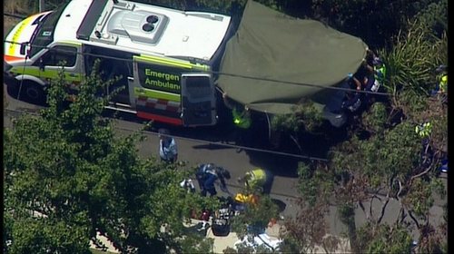 Police established an extensive crime scene on Moorilla Street to investigate how the fatal accident unfolded. (9NEWS)