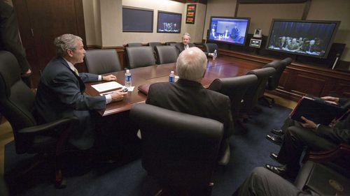 President George W Bush holds a teleconference in the Situation Room.