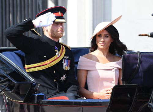 Fresh from their honeymoon, the newlyweds arrive at Trooping the Colour.