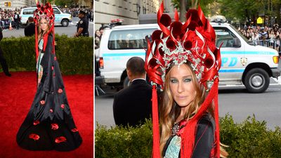 Actress Sarah Jessica Parker, known for her love of quirky fashion, opted for a Chinese-inspired headpiece. (AAP)