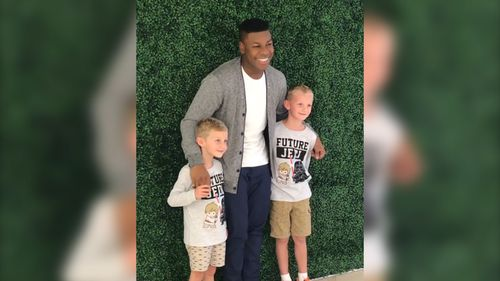 Actor John Boyega has had a hilarious encounter with two young Star Wars fans in Sydney. (Instagram)