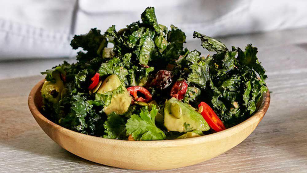 Roasted Kalettes salad with roasted hazelnut and sesame dressing