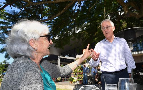Mr Turnbull was heckled by a woman while out on the campaign trail earlier this week. Picture: AAP