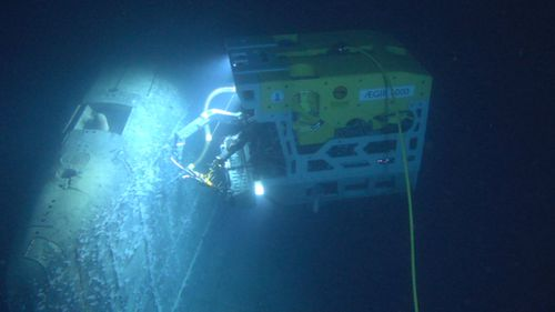 The ROV Ægir 6000 at work on the submarine wreck at a depth of almost 1,700 metres in the Norwegian Sea