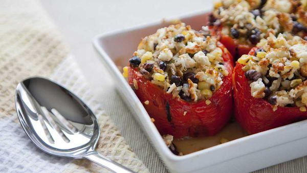 Roasted stuffed capsicums