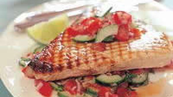 Swordfish with cucumber and tomato salsa