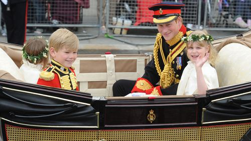 Prince Harry travelled in the carriage during Prince William and Kate's wedding. (PA/AAP)