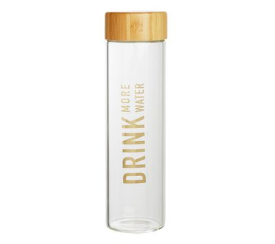 "<a href=""https://www.kikki-k.com/glass-water-bottle-inspiration"" target=""_blank"">Kikki K Glass Water Bottle, $29.95.</a>"