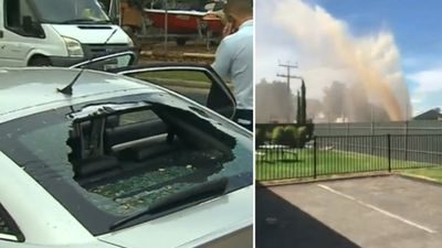 Burst water pipe destroys car and sends dangerous debris flying