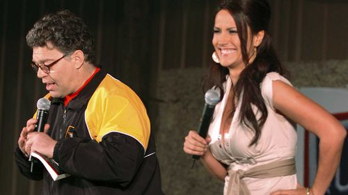 Al Franken and Leeann Tweeden on stage during the USO tour. (AAP)
