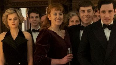 A scene in The Crown showing the Royal Family at Christmas in Sandringham - Diana, Sarah Ferguson, Prince Andrew, Prince Charles