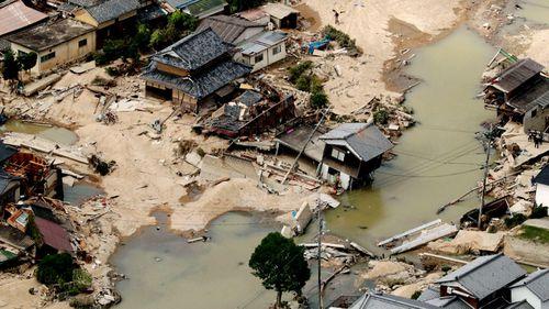 An area of Kurashiki, Okayama prefecture, hit by flooding following torrential rain. (Photo: AP).