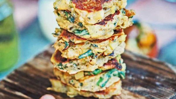 Leek and spinach fritter