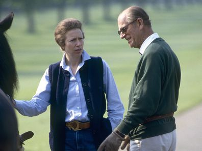 Prince Philip (duke Of Edinburgh) Talking With His Daughter, Princess Anne, At The Royal Windsor Horse Show.  (Photo by Tim Graham Photo Library via Getty Images)