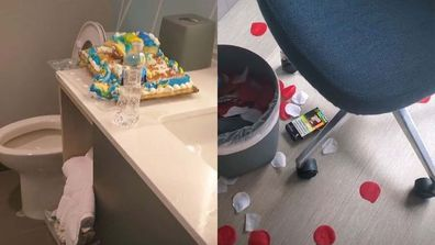 A messy hotel room with a cake left on the bathroom counter in the left image, and rose petals strewn across the floor with other rubbish in the right image.