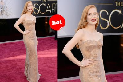You are looking at the best dressed so far! Old Hollywood glamour with sparkly nude embellishments ... dead-set winner for the <i>Zero Dark Thirty</i> beauty!