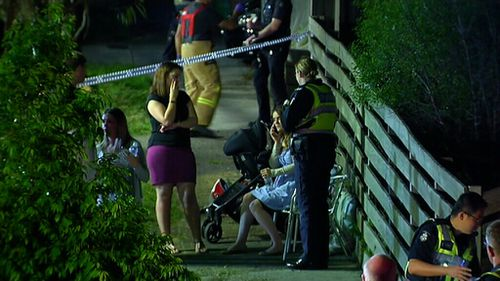 Emergency services were called to the balcony collapse about 10.30pm. (9NEWS)