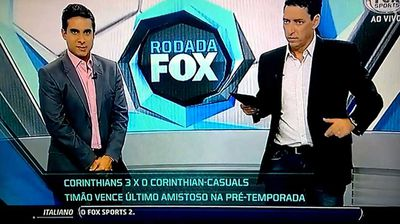 """<p>A popular sports host has left spectators and co-workers fearing the worst as he collapsed during a heated football discussion on live television in Brazil.</p><p> Paulo Vinicius Coelho, known to his fans as PVC, was seen taking several unsteady steps before toppling backwards off the stage as confused staffers rushed to his aid on Saturday.</p><p> What caused PVC to collapse is not clear, however, the 41-year-old Fox Sports commentator did take to Twitter to reassure followers he """"did not pass out"""" and the studios were air conditioned.</p><p> His colleagues had a simpler explanation, with some claiming on social media that he was a victim of dehydration.</p><p> Luckily for PVC, he's not the first to faint on live television.</p><p> Click through to watch journalists who can't seem to find their feet.</p>"""