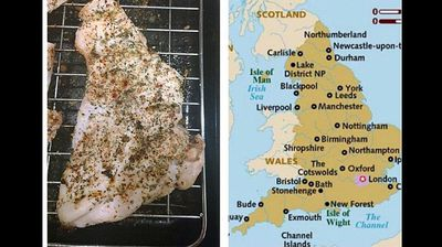 """Twitter-user Shannon Hudson said her humble chicken-dinner also provided a prophecy of things to come. """"Dinner looks like England w/out Scotland (or Wales). Omen of #indyref?"""" she wrote."""