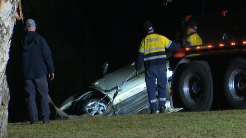 No-one was inside the vehicle when it plunged into the river. Picture: 9NEWS