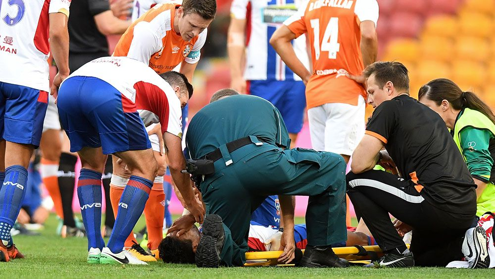 Newcastle Jets striker Ronald Vargas has surgery after horror leg break