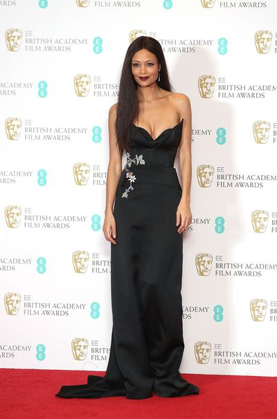 Thandie Newton opted for a dramatic, structured Osman Studio strapless gown that featured an embroidered floral motif.