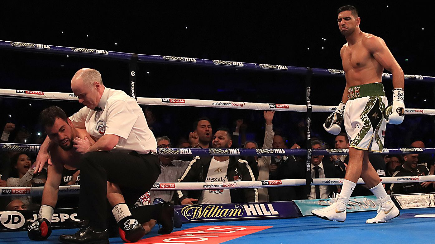 Amir Khan returns to boxing with swift 40-second knockout of Phil Lo Greco