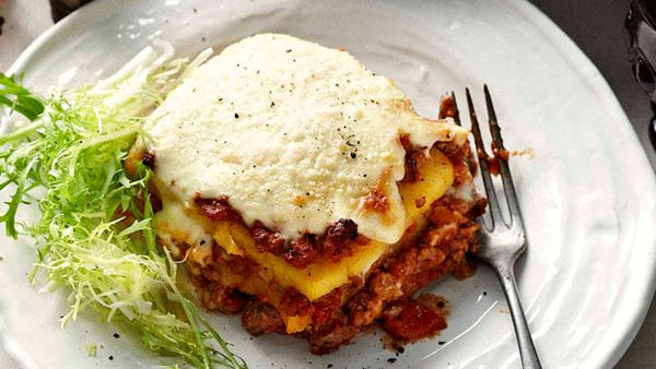 Polenta lasagne with meat sauce