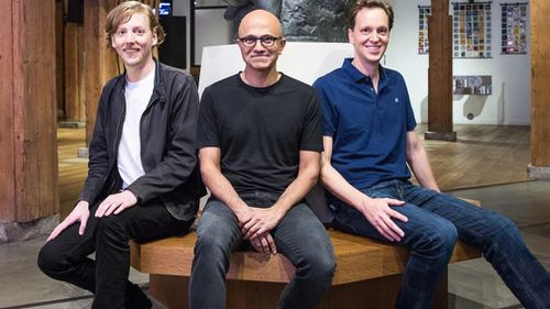 Chris Wanstrath, Github CEO and co-founder; Satya Nadella, Microsoft CEO; and Nat Friedman, Microsoft corporate vice president, Developer Services. (Supplied)