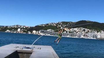 A climber has broken a $1m statue in New Zealand.