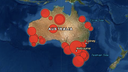 The locations of Australia's most significant earthquakes.