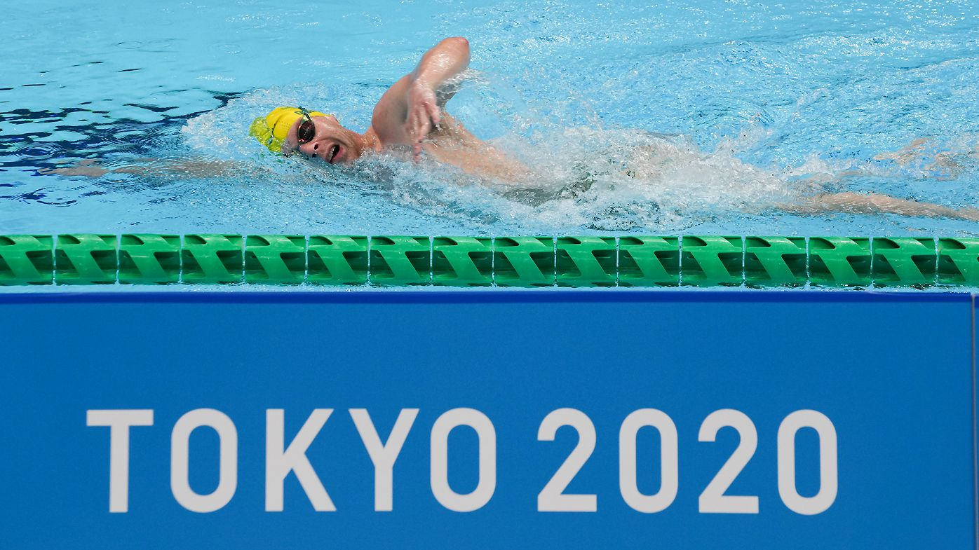 A member of Team Australia swims during a practice session ahead of the Tokyo 2020 Paralympic Games
