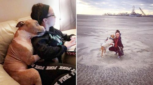 Former shelter dog pictured snuggling with new owner