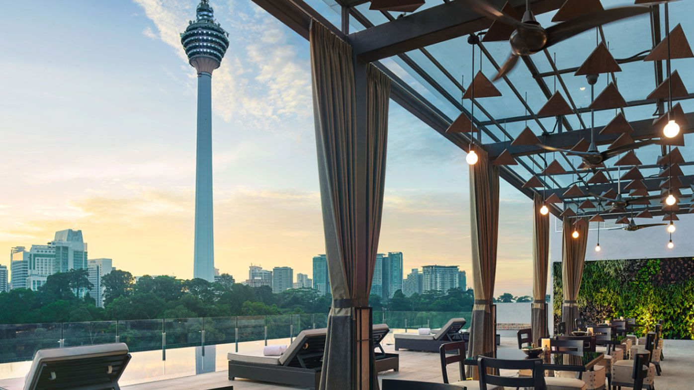 The rooftop pool at Hotel Stripes in Kuala Lumpur, Malaysia