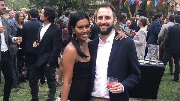Rory Kinsella and partner Suzie enjoying mocktails at a wedding