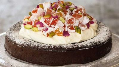 "Recipe:&nbsp;<a href=""http://kitchen.nine.com.au/2016/06/06/13/29/alanas-turkish-delight-flourless-chocolate-cake"" target=""_top"">Alana's Turkish delight flourless chocolate cake</a>"