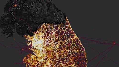 In the map, South Korea is lit up while there is some activity in Pyongyang. (Strave heatmap)