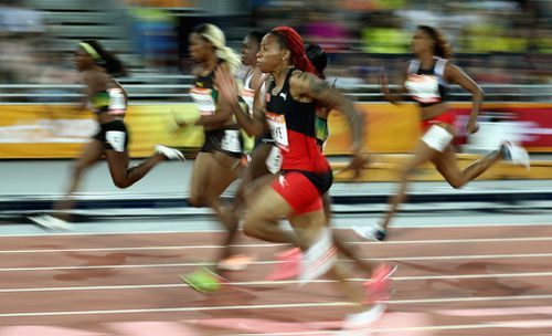 Michelle-Lee Ahye won Trinidad and Tobago's first ever Commonwealth Games track and field gold. (Getty)