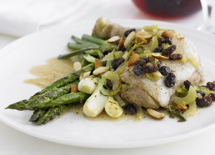 Pan-roasted chicken with sultanas, almonds and celery