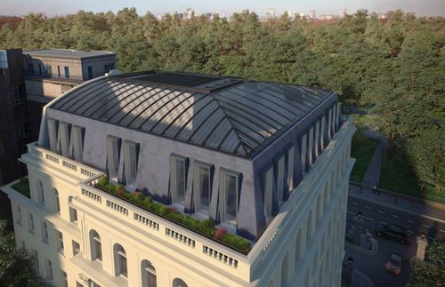 """An architect's vision of how some of the proposed refurbishment of the building will look,v including a glazed dome """"halo"""" roof."""